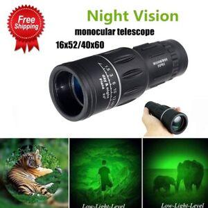 16x52 HD Optical Day & Night Vision Monocular Hunting Camping Hiking Telescope