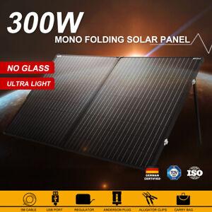300W 12V Folding Solar Panel Kit Caravan Boat Camping Power Mono Charging Black