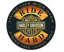 "Harley-Davidson® Bar & Shield Ride Hard Embossed 14"" Tin Sign Black Gold 2010671"
