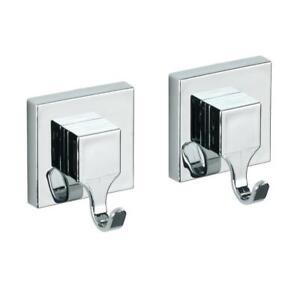 Wenko Vacuum-Loc Quadro Bathroom Wall Hooks - Set Of 2 - Plastic - Silver Shiny