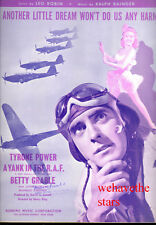 "A YANK IN THE R.A.F. SheetMusic ""Another Little Dream"" Betty Grable Tyrone Power"