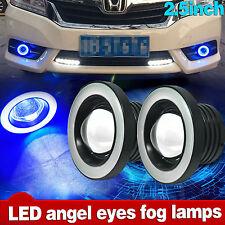 """2x 2.5"""" Car LED Fog Light Projector w/ Blue Halo Angel Eye Ring Driving DRL Bulb"""