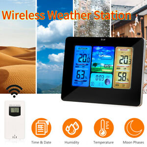 Wireless Digital LCD Weather Station Clock Calendar Thermometer Indoor Outdoor
