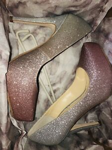 Pink And Silver Glitter Heels