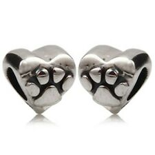 DOG PAW LOVE HEART Genuine 925 Sterling Silver Charm Bead Fits European Bracelet