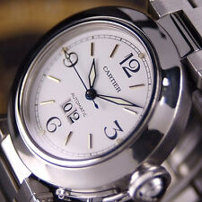 Authentic Pasha De Cartier Date Cal.2475 White Dial Automatic Mens Wrist Watch