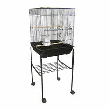"""YML 5824 3/8"""" Bar Spacing Square Top Bird Cage with Stand, 18"""" x 14""""/Small, B..."""