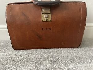 Gladstone J G-S Beautiful Real Leather Doctors Brown Bag Carry Case Vintage RARE