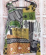 AFRICA Linen Tank Top Tunic Size XXL 1X Women's Handmade Blouse Shirt
