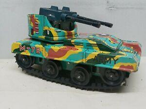 Vtg 1960's Waco M-75 Tank Anti Aircraft Tin Litho Battery Operated *Works* Japan