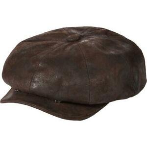 Stetson Mens Brown Leather Weathered Hat Newsboy Cap XL BHFO 2863