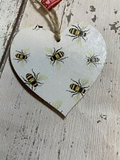 SHABBY CHIC Decoupage Wooden Hanging Heart 8cm Bumble Bee Gift