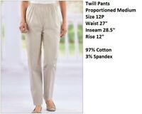 Alfred Dunner Pull-On  Pants 12P Silver Prop. Med. Elastic Waist Pants New