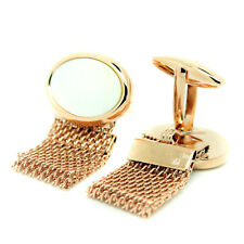 Cufflinks Rose Gold Mother of Pearl Wrap Around Mesh Chain Wedding Cuff Links