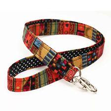 Bohemian Lanyards ID Holders Key Badge Fabric Handmade - boho red gold stripes