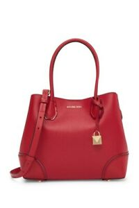 NWT Michael Kors Mercer Gallery Medium Center Zip Leather Tote in Bright Red