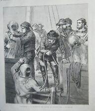 GRAVURE SUR BOIS 1873 SCAPHANDRIER PLONGEURS CHERCHANT EPAVES DU NORTHFLEET