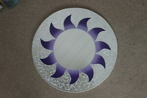 Superb Hand Crafted Mosaic Mirror With Sun Design Purple Color 50 Cm Wide