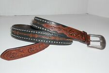 Black & Brown Tooled Leather Barbwire Barbed Wire Silver Stud Belt Size 40