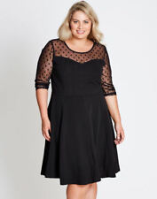 Autograph Black dot print chiffon 3/4 sleeve desk to dinner dress size 18 NEW