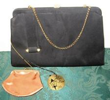 Vintage After Five Black Satin w/Gold&Rhinestone Evening Clutch Bag&Change Purse