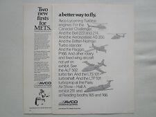 4/1977 PUB AVCO LYCOMING TURBOSHAFT TURBOFAN BELL PIAGGIO ECUREUIL ORIGINAL AD