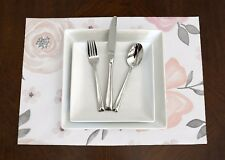 Set of 4 Blush Pink, Grey,  White Watercolor Floral Rose Placemats Table Topper