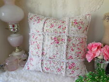 Romantic Pink *ABBY ROSE* Patchwork RAG QUILT Square TOSS PILLOW NEW!