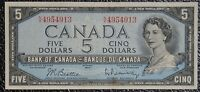 BANK OF CANADA 1954 - $5 Note - Prefix N/X - Signed Beattie & Rasminsky - NCC
