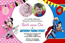 Personalised Twins / Joint Minnie Superhero Birthday Invitations Photo Combined