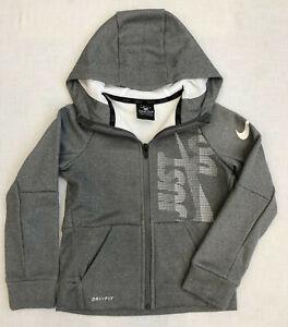 Nike Little Boys Full-Zip Hoodie Dri-Fit Fleece Top Sizes: 4XS, 6M Dark Grey