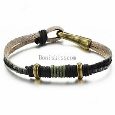 Vintage Retro Braided Leather Cord Mens Womens Leather Tribal Charm Bracelet