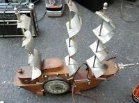 OLD VINTAGE UNITED WOOD & CHROME LIGHTED OLD SAILING SHIP MANTEL CLOCK
