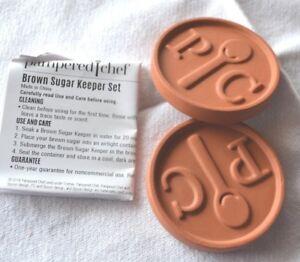 Pampered Chef ~BROWN SUGAR KEEPER~ SET of 2 Terra Cotta Discs Keep Sugar Soft!