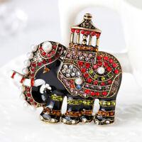 Eg _ Tailandia Elefante Colorato Strass Finta Perla Spilla Pin Sciarpa Gioielli
