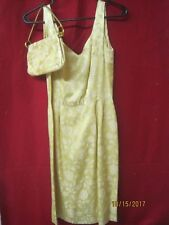 Vintage Cocktail Dress yellow gold polyester Sheath with matching Purse