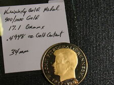 GOLD KENNEDY MEDAL-TOKEN UNKNOWN MAKER-22K PURE GOLD-.4948 OZ GOLD
