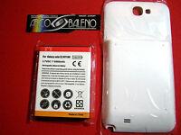 Batteria+Cover 6500Mah SAMSUNG GALAXY NOTE2 GT N7100 POTENZIATA MAGGIORATA BIANC