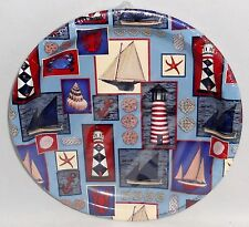 """Nautical Plates  8 Ct. 7""""  Assorted Nautical Patchwork   Snack Plates"""