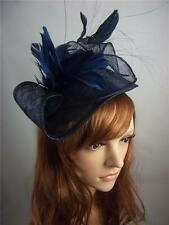 Navy Dark Blue Leaf Sinamay Fascinator with Feather Flower - Hat Wedding Races