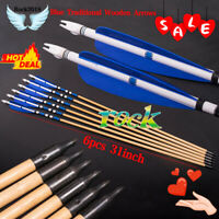 "6PCS 31""Blue Traditional Wooden Arrows With Turkeys Feather For Practice Archery"