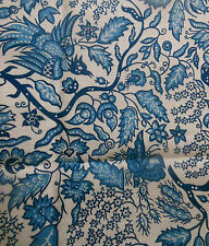 Vintage Retro French Blue Indienne Floral Bird Cotton Fabric ~ 1960's Romanex