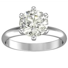 2.50 ct ROUND CUT solitaire diamond engagement Ring 14k WHITE GOLD D COLOR SI2