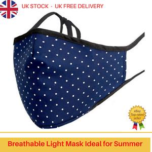 Adult Cotton Face Mask Bamboo Inner Layer - 3D Design Filter Pocket - Navy Blue