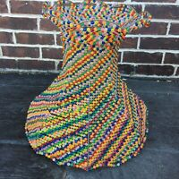 VINTAGE BEADED LAMP SHADE Hippie BOHO Rainbow Fringe Table 70s 60s Psychedelic