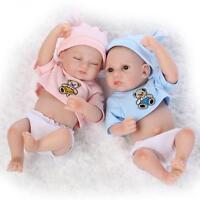 Newest 2Pcs Twins Reborn Baby Boy & Girl Doll 11'' Full Body Vinyl Silicone Bebe