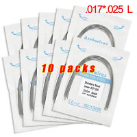 10Packs Dental Orthodontic Stainless Steel Rectangular Arch Wires 17x25 Lower CA