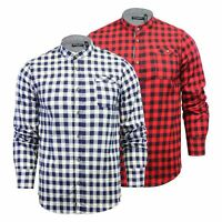 Mens Check Shirt Brave Soul Spirit Grandad Collar Cotton Long Sleeve Casual Top
