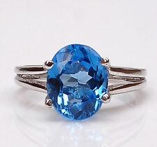 1,40 karat 585er Weißgold Ovale Form natürlichen blauen Topas Verlobungs ring