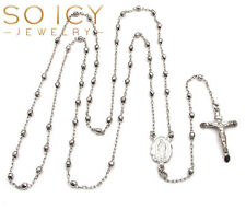 "28"" 8gram 3mm 10k White Gold Diamond Cut Bead Rosary Chain Necklace Mens Ladies"